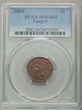 Indian Cents: , 1865 1C Fancy 5 MS63 Brown PCGS. PCGS Population: (95/99). NGC Census: (2/4). CDN: $125 Whsle. Bid for problem-free NGC/PCG...