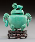 Carvings, A Chinese Carved Turquoise Miniature Censer, 20th century. 3 x 2-5/8 x 1-1/4 inches (7.6 x 6.7 x 3.2 cm). ...