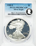 Modern Bullion Coins, 1988-S $1 Silver Eagle PR70 Deep Cameo PCGS. PCGS Population: (1655). NGC Census: (1476). ...
