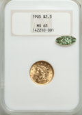 Liberty Quarter Eagles: , 1905 $2 1/2 MS63 NGC. Gold CAC. NGC Census: (1452/2640). PCGS Population: (1711/2651). MS63. Mintage 217,800. ...