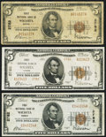 National Bank Notes:Kansas, Wichita, KS - $5 1929 Ty. 1 (2); $5 1929 Ty. 2 First NB Ch. # 2782 Very Good or Better.. ... (Total: 3 notes)