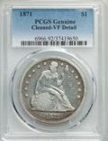 Seated Dollars: , 1871 $1 -- Cleaning -- PCGS Genuine. VF Details. NGC Census: (31/757). PCGS Population: (37/1199). VF20. Mintage 1,074,760....