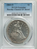 1860-O $1 -- Harshly Cleaned -- PCGS Genuine. XF Details. NGC Census: (42/795). PCGS Population: (100/1280). XF40. Minta...