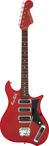 Musical Instruments:Electric Guitars, Hagstrom Corvette Red Solid Body Electric Guitar, Serial # 664250....