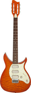 Musical Instruments:Electric Guitars, 1995 Chandler 555 HoneyBurst Quilt Solid Body Electric Guitar, Serial # 207160....