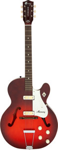Musical Instruments:Electric Guitars, 1965 Harmony Rocket Redburst Semi-Hollow Body Electric Guitar, Serial # N/A....