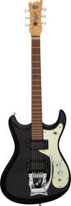 Musical Instruments:Electric Guitars, Circa 1965 Mosrite Ventures II Black Solid Body Electric Guitar,Serial # N/A....