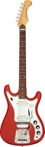Musical Instruments:Electric Guitars, Circa 1965-1969 Magnatone X-15 Tornado Red Sparkle Solid Body Electric Guitar, Serial # 150618....