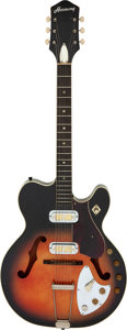Musical Instruments:Electric Guitars, 1962 Harmony H-66 Sunburst Semi-Hollow Body Electric Guitar, Serial # 275....