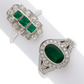 Estate Jewelry:Rings, Emerald, Diamond, White Gold Rings. ... (Total: 2 Items)