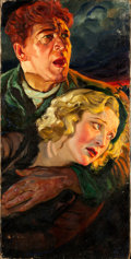 "Movie Posters:Drama, The Informer by Frederic C. Madan (RKO, 1935). Very Fine-. Signed Original Oil Artwork on Canvas (20"" X 40"") used on Three S..."