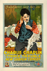 "Triple Trouble (Essanay, 1918). Very Fine- on Linen. One Sheet (28"" X 42"")"