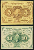 Fractional Currency:First Issue, Fr. 1230 5¢ First Issue VF-XF;. Fr. 1242 10¢ First Issue XF-About New.. ... (Total: 2 notes)