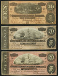 Confederate Notes:Group Lots, T67 $20 1864 Two Examples Fine-Very Fine;. T68 $10 1864 Extremely Fine.. ... (Total: 3 notes)