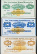 Obsoletes By State:Nevada, Austin, NV- Manhattan Silver Mining Co. $5, $10, $20 187_ Remainders Choice Crisp Uncirculated.. ... (Total: 3 notes)