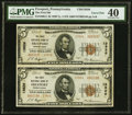 National Bank Notes:Pennsylvania, Freeport, PA - $5 1929 Ty. 2 The First National Bank Ch. # 13826 Uncut Pair PMG Extremely Fine 40.. ...