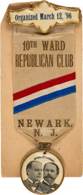 Political:Pinback Buttons (1896-present), McKinley & Hobart: Newark, New Jersey Jugate Ribbon Badge....