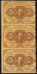 Fractional Currency:First Issue, Fr. 1230 5¢ First Issue Uncut Vertical Strip of Three Very Fine.. ...