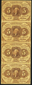 Fractional Currency:First Issue, Fr. 1230 5¢ First Issue Uncut Vertical Strip of Four Very Fine.. ...