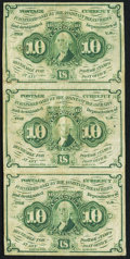 Fractional Currency:First Issue, Fr. 1242 10¢ First Issue Uncut Vertical Strip of Three Fine.. ...