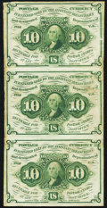 Fractional Currency:First Issue, Fr. 1242 10¢ First Issue Uncut Vertical Strip of Three Very Fine.. ...