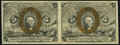 Fractional Currency:Second Issue, Fr. 1232 5¢ Second Issue Uncut Horizontal Pair Very Fine-Extremely Fine.. ...