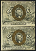 Fractional Currency:Second Issue, Fr. 1244 10¢ Second Issue Uncut Vertical Pair Very Fine.. ...