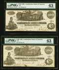 Confederate Notes:1862 Issues, T39 $100 1862 PF-5 Cr. 290 Two Consecutive Examples PMG Choice Uncirculated 63.. ... (Total: 2 notes)