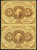 Fractional Currency:First Issue, Fr. 1230 5¢ First Issue Uncut Vertical Pair Fine-Very Fine.. ...