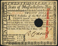 Colonial Notes:Massachusetts, Signed by Loammi Baldwin Massachusetts May 5, 1780 $20 About New.....