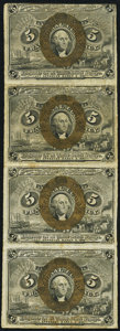 Fractional Currency:Second Issue, Fr. 1232 5¢ Second Issue Uncut Strip of Four Very Fine.. ...