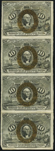 Fractional Currency:Second Issue, Fr. 1244 10¢ Second Issue Uncut Strip of Four Extremely Fine.. ...