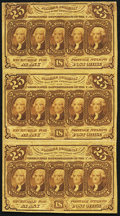 Fr. 1281 25¢ First Issue Uncut Strip of Three Very Fine
