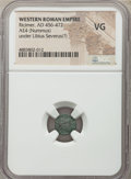 Ancients: Ricimer, as Patrician and Master of Soldiers, Western Roman Empire (AD 457-472). AE4 or nummus (10mm, 6h). NGC...