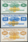 Obsoletes By State:Nevada, Austin, NV- Manhattan Silver Mining Co. $5, $10, $20 187_ Remainders Choice About Uncirculated or better.. ... (Total: 3 notes)