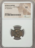 Ancients:Roman Imperial, Ancients: Anonymous Issues, time of Domitian to Antoninus Pius (ca.AD 81-161). AE quadrans (18mm, 1h). NGC VF.