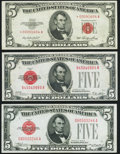 Small Size:Legal Tender Notes, Fr. 1525 $5 1928 Legal Tender Note. About Uncirculated;. Fr. 1527$5 1928B Legal Tender Note. About Uncirculated;. Fr.... (Total: 3notes)