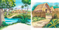 Animation Art:Production Drawing, The Jungle Book Background Paintings Group of 2 (WaltDisney, c. 1990s).. ... (Total: 2 Items)