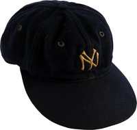 Early to Mid-1930's Lou Gehrig Game Worn New York Yankees Cap, MEARS Authentic