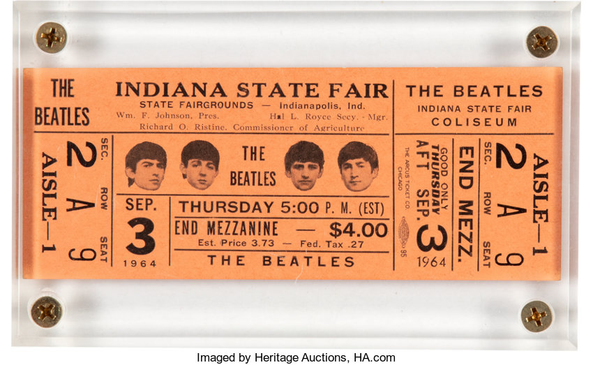 The Beatles Ticket Indiana State Fair Concert Ticket (1964