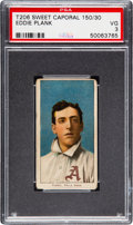 Baseball Cards:Singles (Pre-1930), 1909-11 T206 Sweet Caporal 150/30 Eddie Plank PSA VG 3....