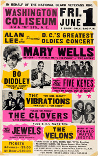 Mary Wells / Bo Diddley Large Colorful Globe Concert Poster (1970's)