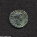 Ancients:Roman, Ancients: Nero. A.D 54-68. AE as (26 mm, 9.77 g). Rome, ca. A.D.65. Laureate head right / Victory advancing left, holding wreathwith...