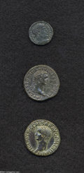 Ancients:Roman, Ancients: Lot of three Roman AE. Includes: Claudius. As. VF,heavily tooled // Domitian. As. Good VF, dark green patina,smoothed // C... (Total: 3 coins Item)