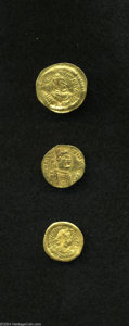 Ancients:Byzantine, Ancients: Lot of three fractional AV. Includes: Justinian I.Semissis // Justinian I. Tremissis // Heraclius. Tremissis. AverageFine ... (Total: 3 coins Item)
