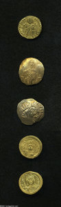 Ancients:Byzantine, Ancients: Lot of five miscellaneous AV. Includes: Justin II.Solidus (2) // Basil I. Solidus. Average Fine // Empire of Nicaea.John I... (Total: 5 coins Item)