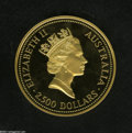Australia: , Australia: Elizabeth II Gold 2500 Dollars 1991, KM151, Gem Proofwith sharp cameo contrast. A mintage of only 124 pieces....