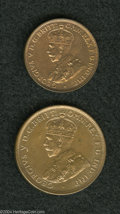 Australia: , Australia: George V Proof Halfpenny and Penny 1928, KM22 and 23,both are original and uncleaned with reddish-brown patina, thePenny h... (Total: 2 coins Item)