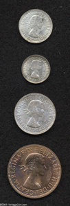 Australia: , Australia: Elizabeth II Four-piece Melbourne Proof Set 1955,KM-PS16, Penny, Threepence, Sixpence, and Shilling, all niceProofs, the P... (Total: 4 coins Item)