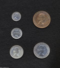 Australia: , Australia: Elizabeth II Five-piece Melbourne Proof Set 1956, KM-PS18, Penny, Threepence, Sixpence, Shilling, and Florin, all of the coi... (Total: 5 coins Item)